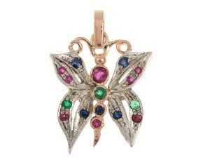 Handcrafted Italian Ruby Emerald & Sapphire Butterfly Pendant