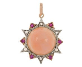 Handcrafted Italian Coral, Ruby & Diamond Fancy Pendant