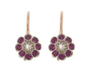 Handcrafted Italian Diamond & Ruby Floral Drop Earrings