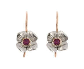 Handcrafted Italian 0.15ct Ruby Floral Drop Earrings