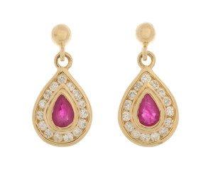 9ct Yellow Gold 0.15ct Ruby & 0.15ct Diamond Drop Earrings