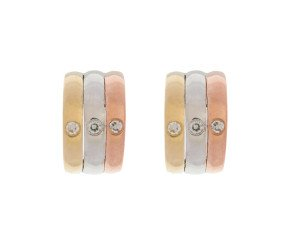 9ct White Yellow & Rose Gold Diamond Hoop Earrings
