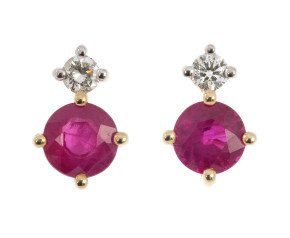9ct Yellow Gold 0.60ct Ruby & 0.15ct Diamond Earrings