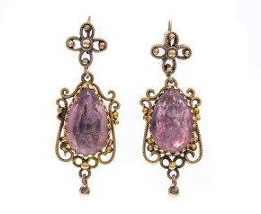 Antique Gold Foil Back Rock Crystal Earrings