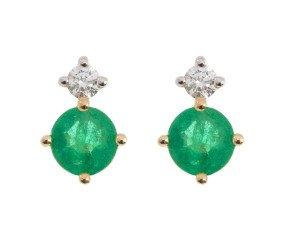 9ct Yellow Gold 0.30ct Emerald & 0.15ct Diamond Stud Earrings
