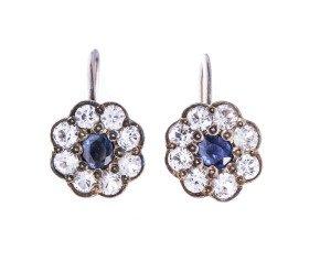 Pre-owed Sapphire & Colourless Paste Clip Earrings