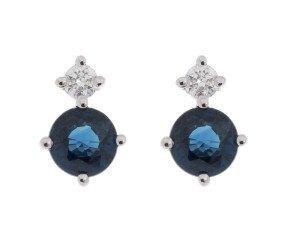9ct White Gold 0.60ct Sapphire & 0.15ct Diamond Earrings