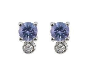 9ct White Gold 0.20ct Tanzanite & Diamond Stud Earrings