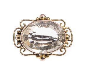 Antique Late 19th Century 9ct Yellow Gold Citrine Brooch