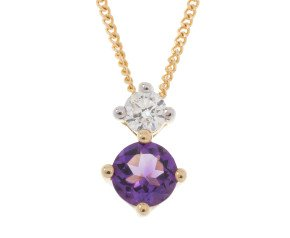 9ct Yellow Gold 0.20ct Amethyst & Diamond Pendant