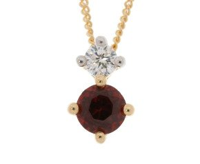 9ct Yellow Gold 0.25ct Garnet & Diamond Pendant