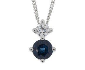 9ct White Gold 0.30ct Sapphire & Diamond Pendant