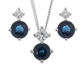 9ct White Gold 0.90ct Sapphire & Diamond Pendant & Earrings Jewellery Set