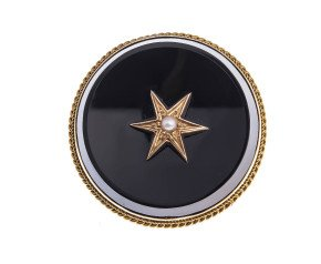 Antique Victorian 15ct Yellow Gold Split Peal & Onyx Memorial Brooch