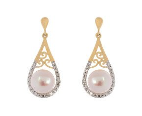9ct Yellow Gold 6.5mm Cultured Pearl & Diamond Earrings