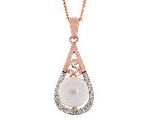 9ct Rose Gold 7mm Cultured Pearl & Diamond Pendant