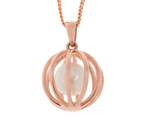 9ct Rose Gold Floating Cultured Pearl Pendant