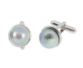 Sterling Silver Cultured Grey Pearl Cufflinks