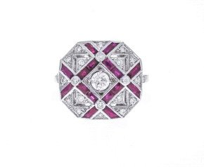 18ct White Gold 0.62ct Diamond & Ruby Dress Ring