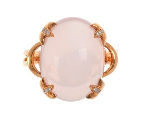 18ct Rose Gold Rose Quartz & Diamond Dress Ring