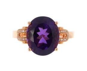 18ct Rose Gold 4.70cts Amethyst & Diamond Dress Ring