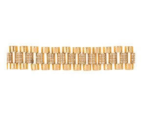 Pre-Owned 18ct Gold & Diamond Rolex Style Bracelet