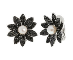 Sterling Silver 6mm Akoya Pearl & Gem-Set Flower Clip-on Earrings