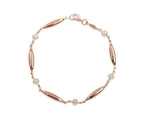 9ct Rose Gold Cultured Pearl Bracelet