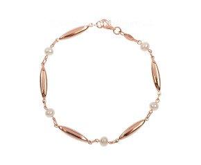 9ct Rose Gold Cultured Pearl Bracelet