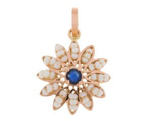 Handcrafted Italian Sapphire & Seed Pearl Flower Cluster Pendant