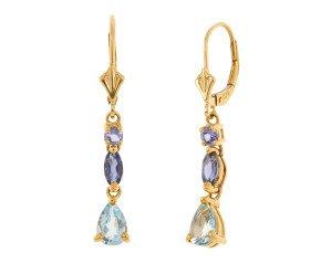 Pre-Owned 1.21ct Aquamarine & Tanzanite Drop Earrings