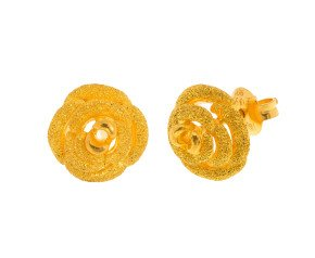 Pre-Worn Rose Design Stud Earrings
