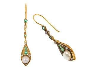 Pearl, Emerald, Diamond And Cubic Zirconia Drop Earrings