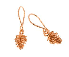 18ct Rose Gold Vermeil Pine Cone Drop Earrings