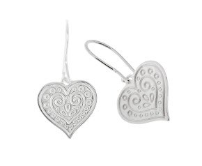 Sterling Silver Patterned Heart Drop Earrings