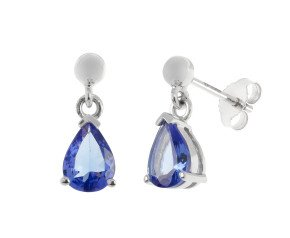 9ct White Gold Tanzanite Drop Earrings