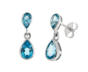 9ct White Gold 0.96ct Swiss Blue Topaz Drop Earrings