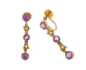 Antique Gold Amethyst & Split Pearl Earrings