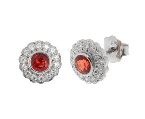 18ct White Gold Orange Sapphire & Diamond Halo Stud Earrings
