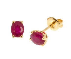 9ct Yellow Gold Ruby Solitaire Earrings