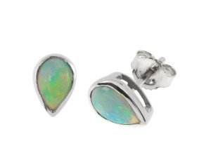1.20ct Opal Solitaire Stud Earrings