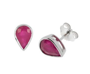 9ct White Gold Ruby Pear Shaped Solitaire Stud Earrings