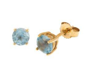 9ct Yellow Gold 1.30ct Round Aquamarine Solitare Stud Earrings