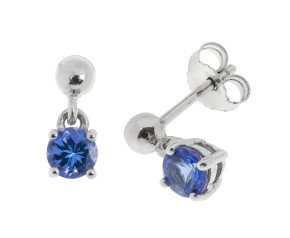 9ct White Gold 0.60ct Tanzanite Drop Earrings