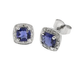 9ct White Gold Iolite & Diamond Earrings