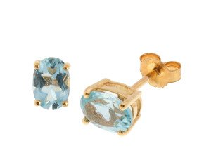 9ct Yellow Gold 1.70ct Oval Aquamarine Solitaire Stud Earrings