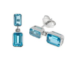 9ct White Gold 2.14ct Topaz Drop Earrings