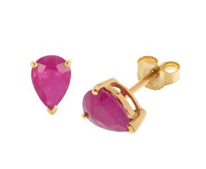 9ct Yellow Gold 1.70ct Ruby Solitare Stud Earrings