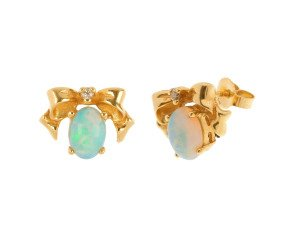 1ct Opal & Diamond Bow Earrings