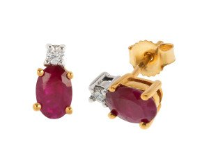 9ct Gold 1.00ct Ruby & Diamond Stud Earrings
